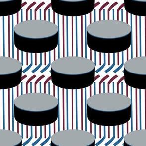 Colorado Avalanche Team Colors Hockey Puck Polka Dots Stricks Stripes Burgundy Blue Silver Black