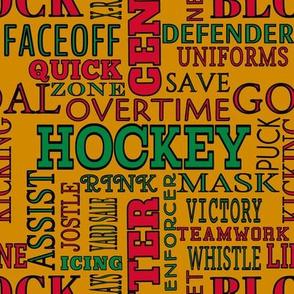 Chicago Blackhawks Team Colors Hockey Terms Lettering Words Red Orange Green Black Alphabet