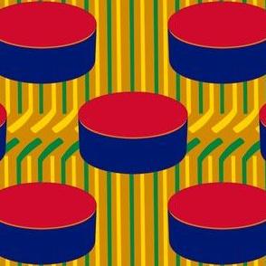 Chicago Blackhawks Polka Dot Pucks and Sticks Stripes Team Colors Hockey Red Orange Green Yellow Tan Blue