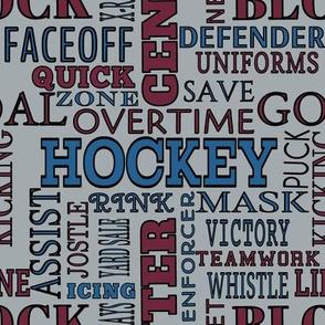 Colorado Avalanche Team Colors Hockey Alphabet  Terms Lettering Words Burgundy Blue Silver Black