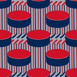 Columbus Blue Jackets Team Color Blue Red Silver Hockey Puck Polka Dots Sticks Stripes