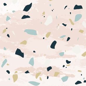 Simple Pink Textured Terrazzo Stone Print