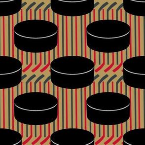 Vegas Golden Knights Hockey Pucks Polka Dots Team Colors Stick Stripes Gold Gray Red Black White