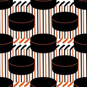 Philadelphia Flyers Hockey Pucks Polka Dots Sticks Stripes Team Colors Black White Orange