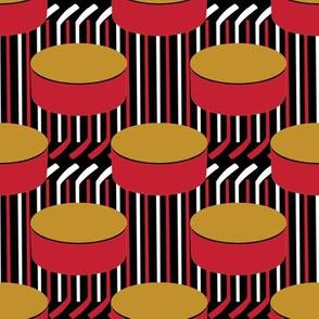 Ottawa Senators Hockey Puck Polka Dots Sticks Stripes Team Colors Red Gold Black White
