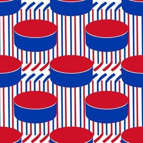 New York Rangers Hockey Polka Dots Team Color Stick Stripes Red White Blue