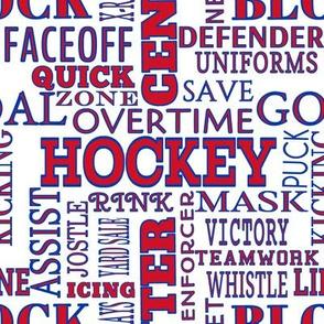 New York Rangers Hockey Alphabet Team Color Words Lettering Terms Red White Blue