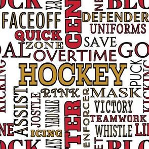 Ottawa Senators Hockey Lettering Terms Words Team Colors Red Gold Black White