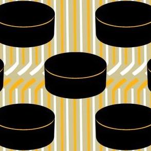 Pittsburgh Penguins Hockey Pucks Polka Dots Sticks Stripes Team Colors Black White Gold Yellow