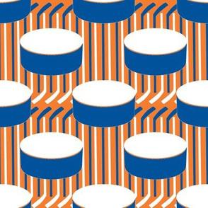New York Islanders Hockey Puck Polka Dots Stick Stripes Team Colors Blue Orange White