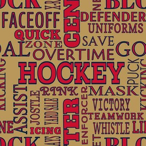 Florida Panthers Hockey Alphabet Terms Words Lettering Team Colors Navy Red Tan