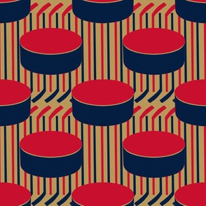 Florida Panthers Hockey Polka Dot Pucks  Stick Stripes Team Colors Navy Red Tan