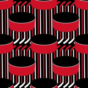 New Jersey Devils Team Color Hockey Puck Polka Dots Sticks Stripes Red Black White