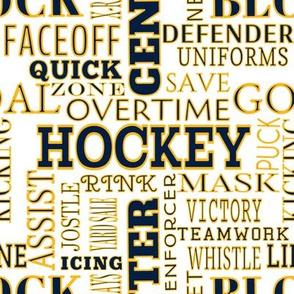 Nashville Predators Hockey Terms Alphabet Lettering Words Team Colors Gold White Navy Blue