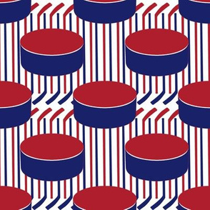 Montreal Canadiens Hockey Puck Polka Dots Sticks Stripes Team Colors Blue Red White