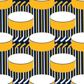 Nashville Predators Hockey Puck Polka Dots Sticks Stripes Team Colors Gold White Navy Blue