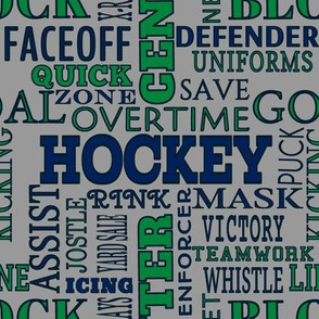 Vancouver Canucks Hockey Words Terms Lettering Team Colors White Gray Blue Green