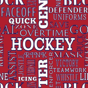 Montreal Canadiens Hockey Alphabet Lettering Words Terms Team Colors Blue Red White