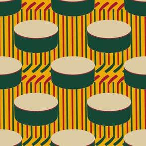Minnesota Wild Hockey Pucks Polka Dots Sticks Stripes Team Colors Red Green Gold Whtie Tan