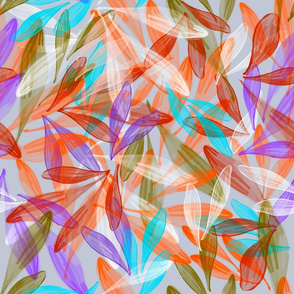 Leaf Dance | Red Orange Cyan Green Violet Gray