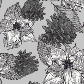 Silver Christmas Holiday Poinsettia Pattern