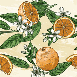 Traditional Orange Citrus Pattern with Blossoms