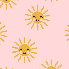 Sunshine - cute suns - light pink - LAD19