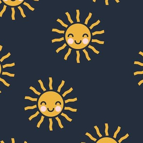 Sunshine - cute suns - dark blue - LAD19