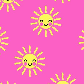 Sunshine - cute suns - hot pink - LAD19