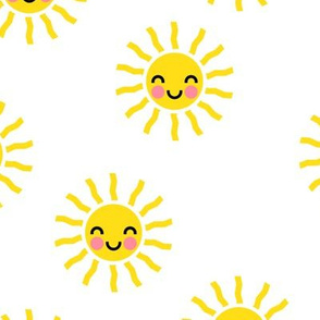 Sunshine - cute suns - yellow and white - LAD19