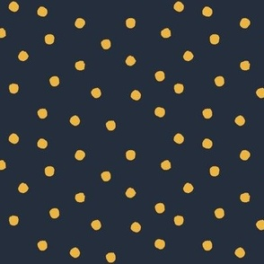 Polkas - sunshine - golden yellow on dark blue - LAD19