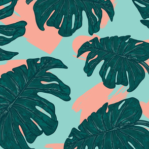 Retro 80s Monstera Pattern