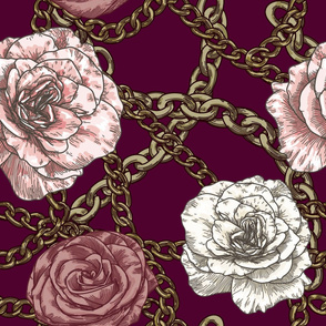 80s Baroque Rose and Chain Pattern