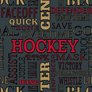 Vegas Golden Knights Hockey Alphabet Lettering Terms Words Team Colors Gold Gray Red Black White