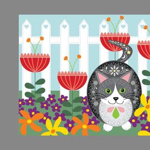 Cat in the Garden Tea Towel
