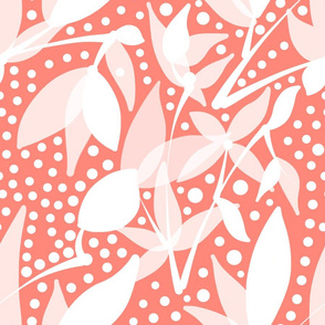 Fruits & Berries Abstract - white on peach Coral