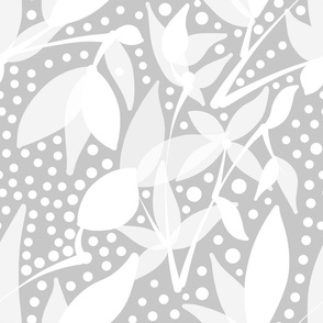 Fruits & Berries Abstract - white on silver grey