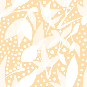 Fruits & Berries Abstract - white on cream beige