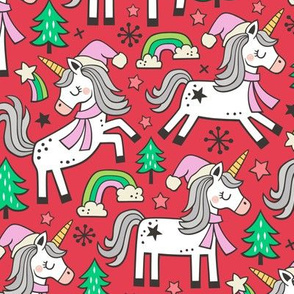 Christmas Holidays Unicorn Rainbow & Mint Green Trees Doodle Pink on Red