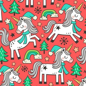 Christmas Holidays Unicorn Rainbow & Mint Green Trees Doodle Green on Red