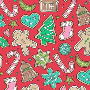 Christmas Xmas Holiday Gingerbread Man Cookies Winter Candy Treats Pink on Red