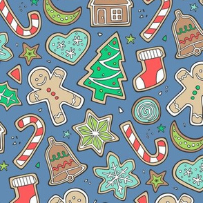 Christmas Xmas Holiday Gingerbread Man Cookies Winter Candy Treats on Light Navy Blue