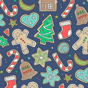 Christmas Xmas Holiday Gingerbread Man Cookies Winter Candy Treats on Navy Blue