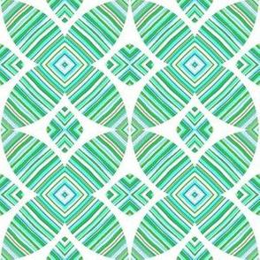 Downward Striations/ aqua,green,grey,white