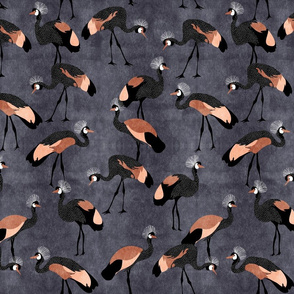 Crowned Cranes - copper pink _ midnight blue