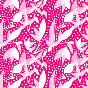 Fruits & Berries Abstract - white on raspberry pink, medium