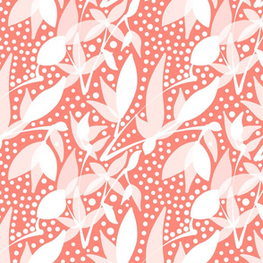 Fruits & Berries Abstract - white on peach coral, medium