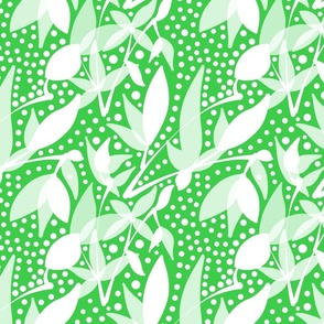 Fruits & Berries Abstract - white on leaf green, medium