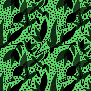 Fruits & Berries Abstract - Black on leaf green, medium