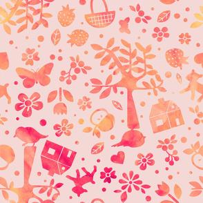 Wonderland garden - peach - large scale